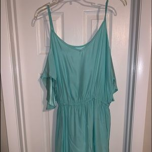 Aqua Empire Waist Cold Shoulder w Ruffle Dress
